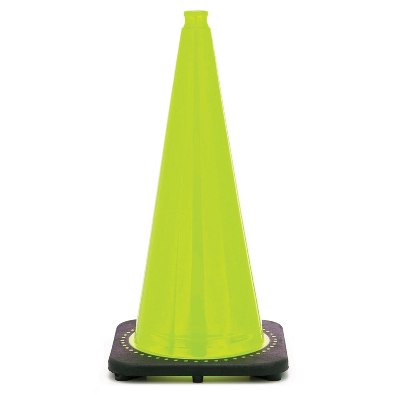 "Rubber Parking Cone 28"" Florescent Lime - Pack of 6"