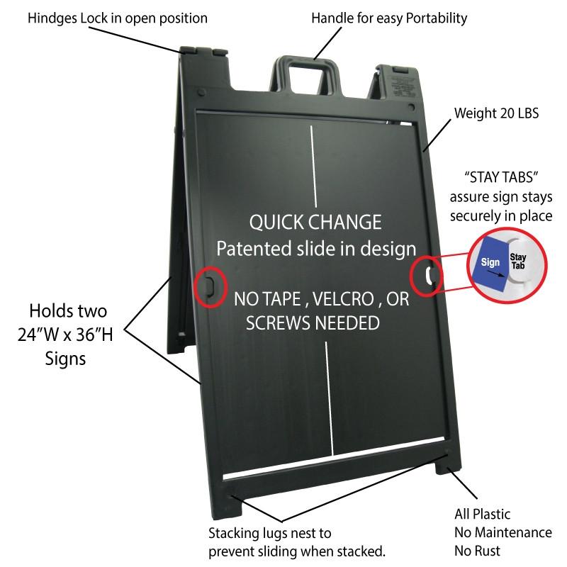 Signicade Deluxe Black Double Sided Valet Parking A-Frame AF-6