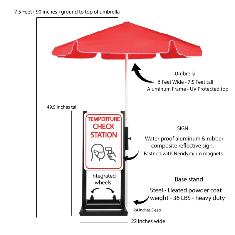 Curbside Temperature Check Station with Umbrella