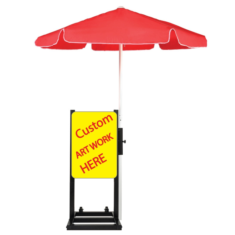 Custom Curbside Station with Red Umbrella