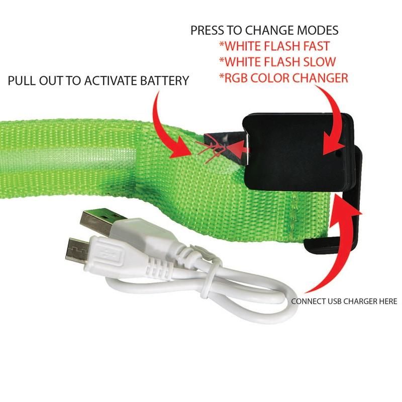 Valet LED Safety Armband - Black - USB Rechargeable