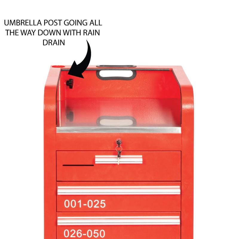 Valet Parking 100 Key Slot Red Drawer Side