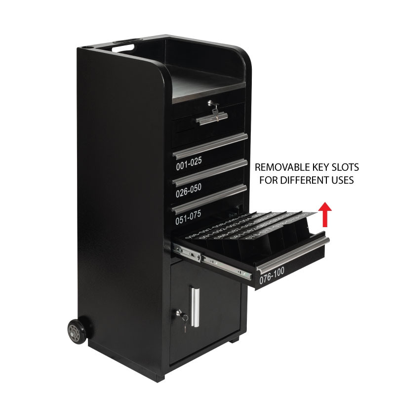 Valet Podium 100 Key Slot Black Drawer Side Front