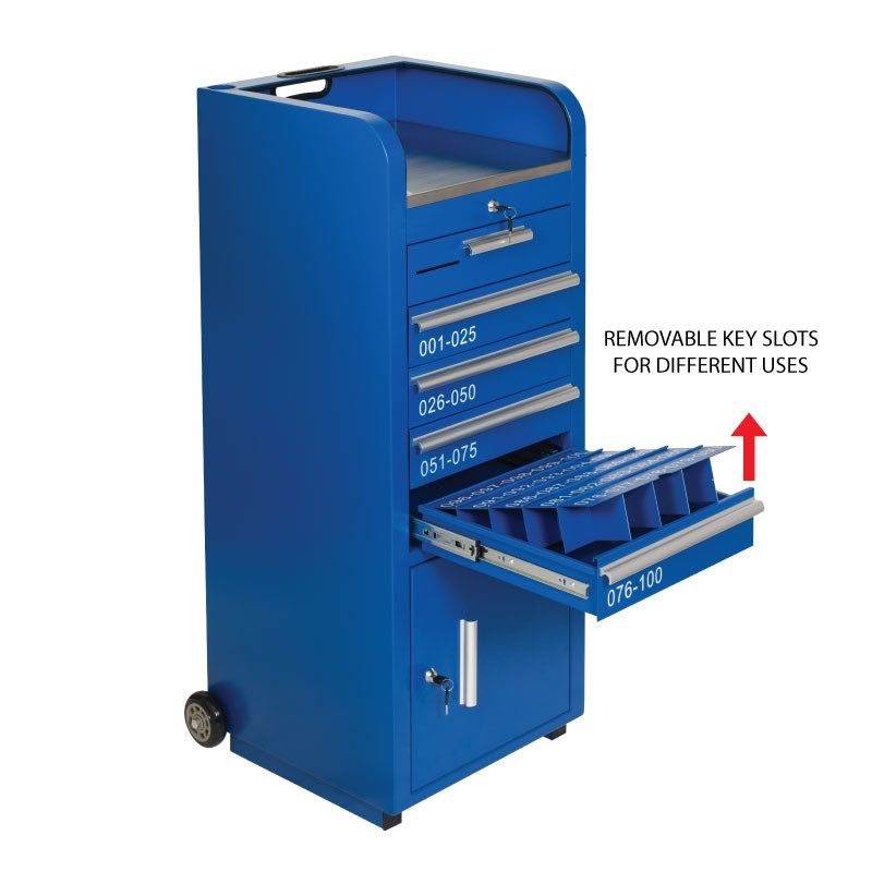 Blue Valet Podium 100 Key Slot Drawers Front