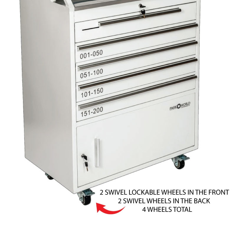 White Valet Podium 200 Key Slot Drawer Side Front