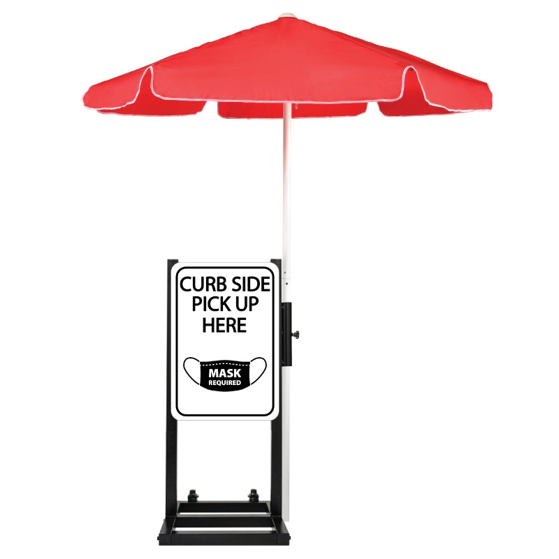 Curbside Pickup With Mask Required Station with Umbrella