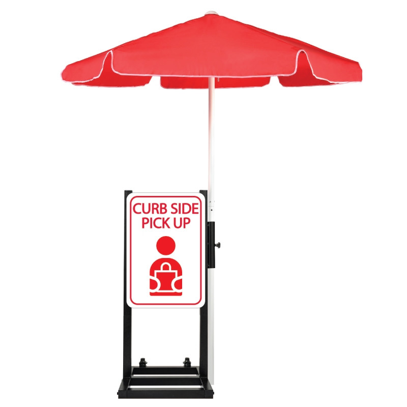 Curbside Pickup Station with Umbrella