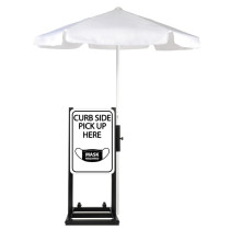 Curbside Pickup With Mask Required Station with White Umbrella Description