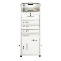 Valet Podium 100 Key Slot White Drawer Side