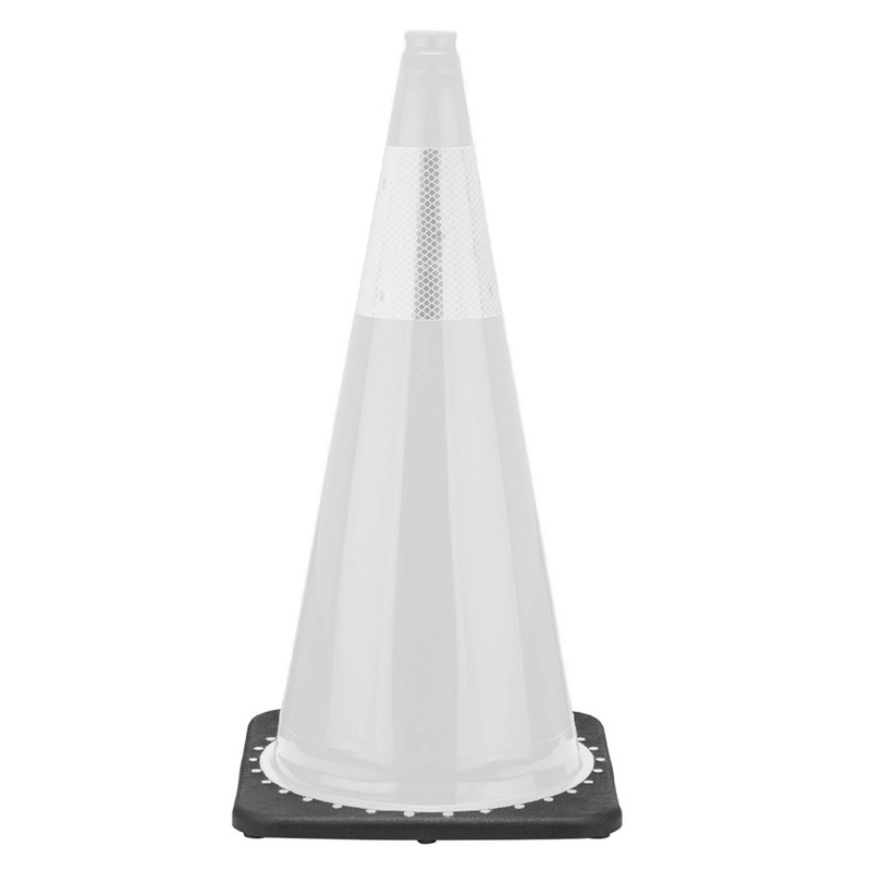 "Rubber Parking Cone 28"" White with 3M Reflector"