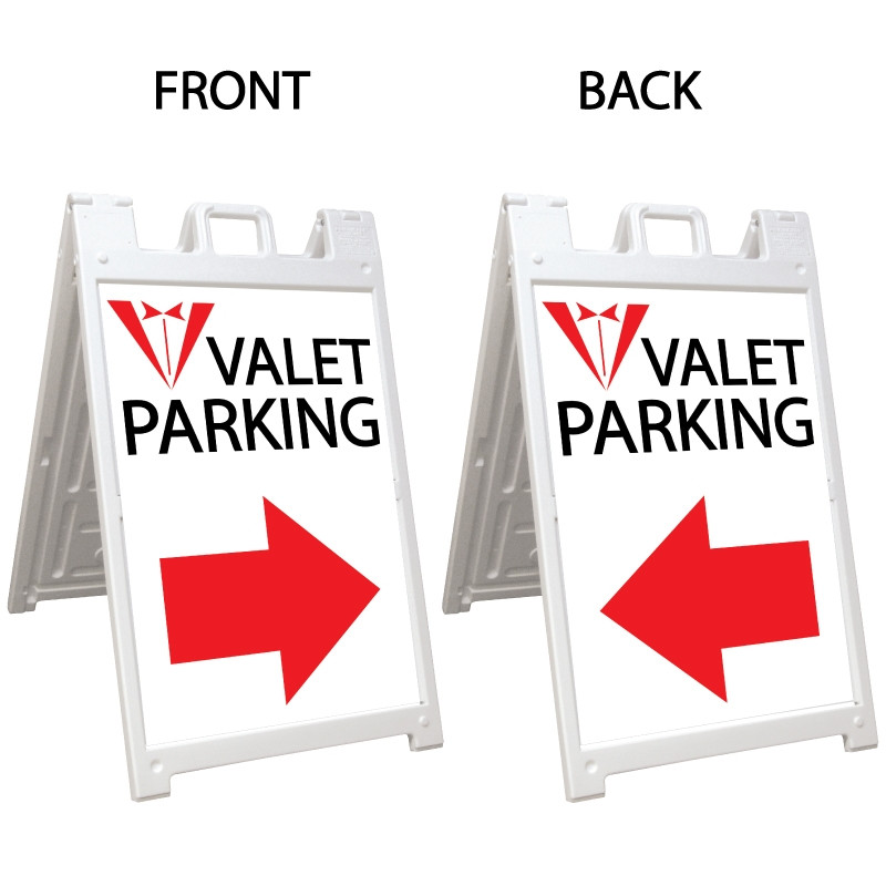 Signicade Deluxe White Double Sided Valet Parking A-Frame AF-3