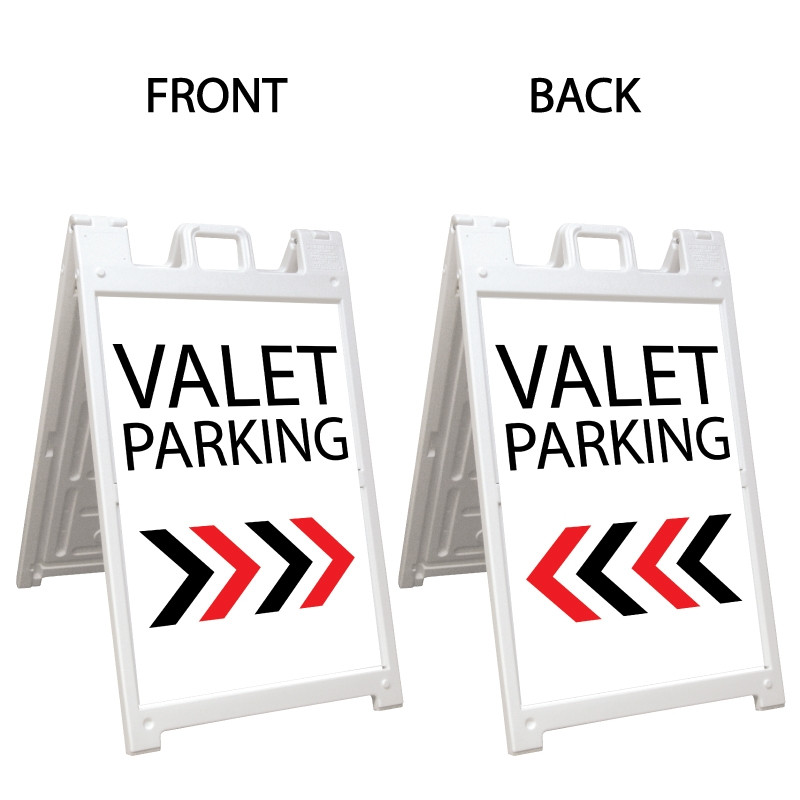 Signicade Deluxe White Double Sided Valet Parking A-Frame AF-8