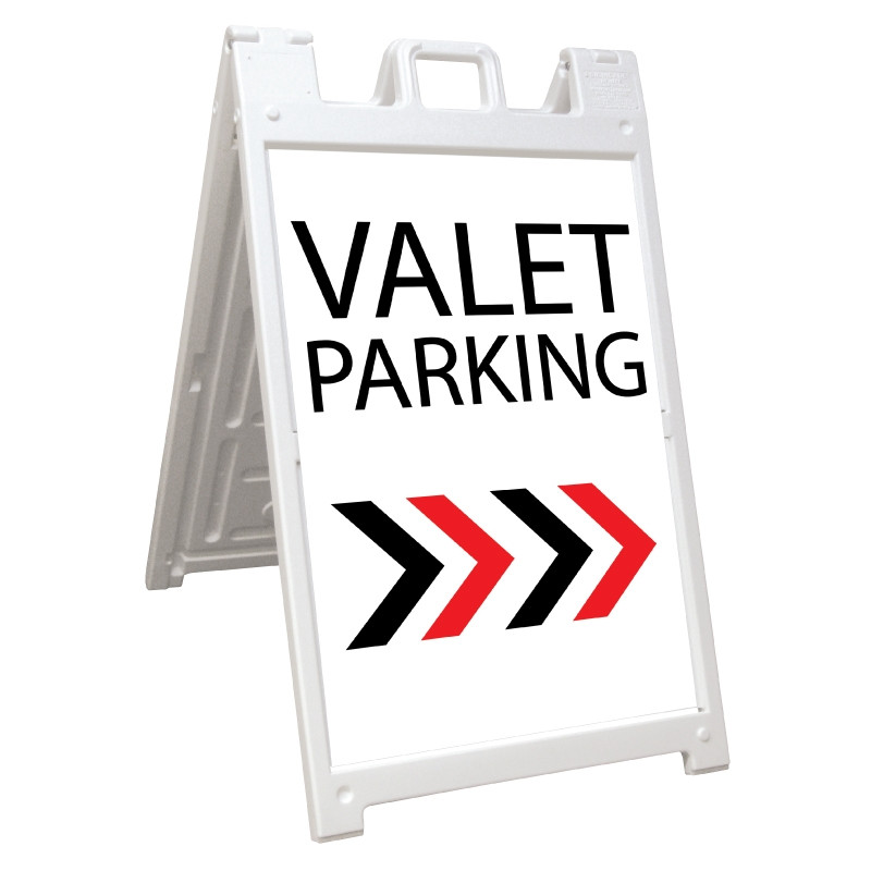 Signicade Deluxe White Valet Parking A-Frame Arrow Right AF-8
