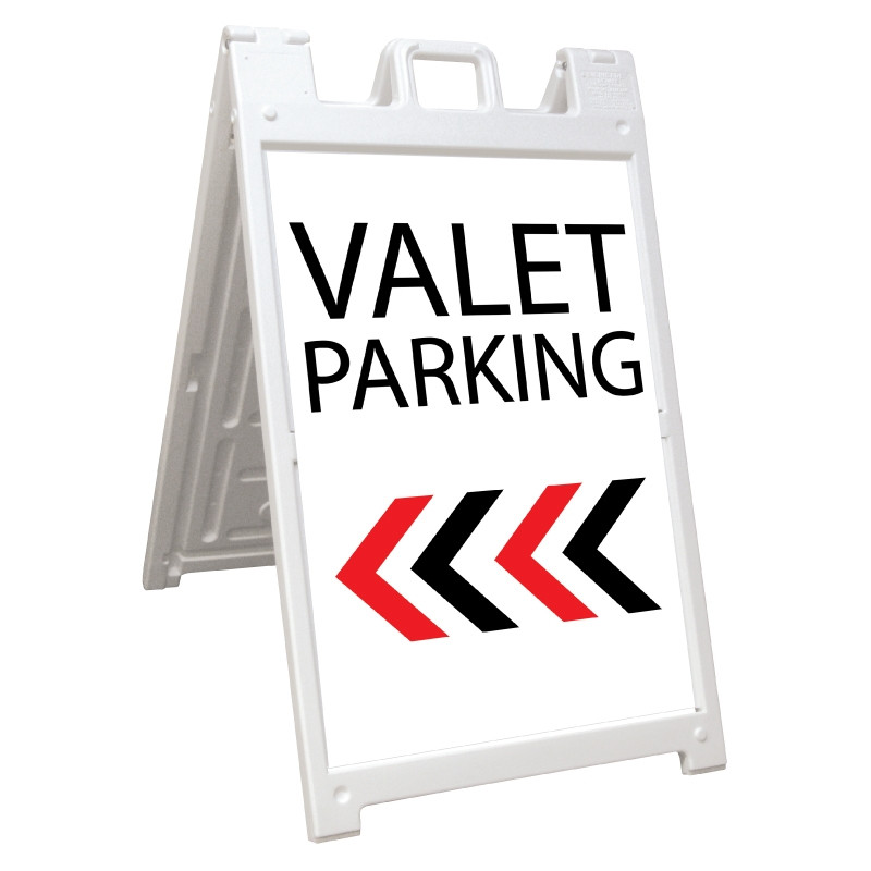 Signicade Deluxe White Valet Parking A-Frame Arrow Left AF-8