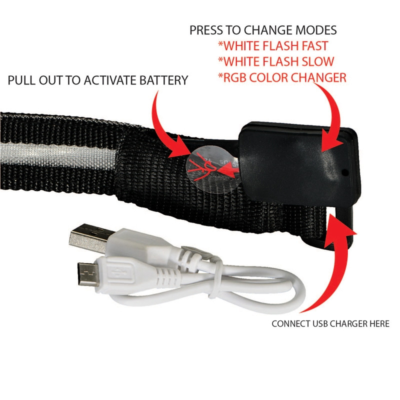 Valet LED Safety Armband USB Recharge close-up