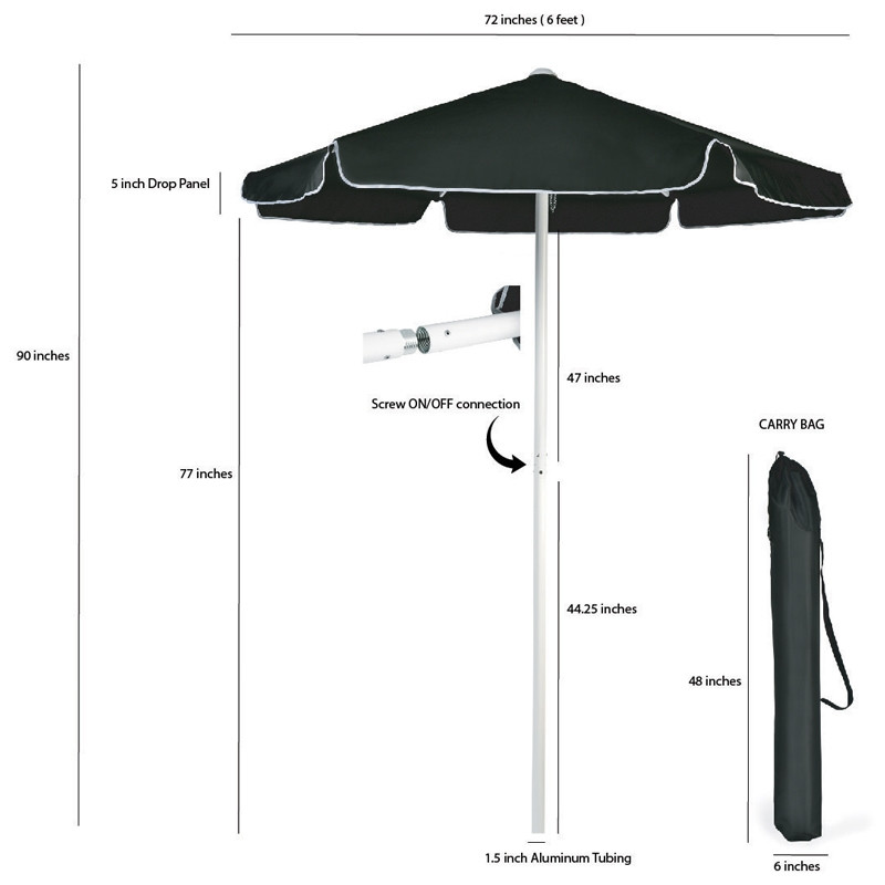 Black Valet Parking Umbrella sizes