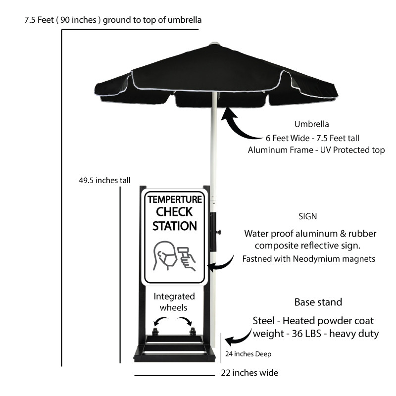 Curbside Temperature Check Station with Umbrella Description