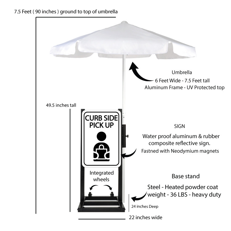 Curbside Pickup Station with White Umbrella Description