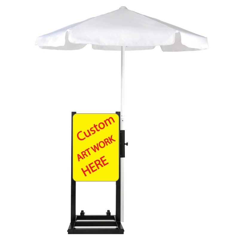 Custom Curbside Station with White Umbrella