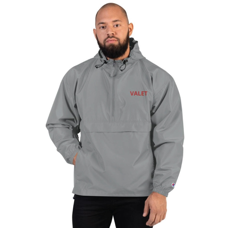 Grey Valet Jacket with Red Wording