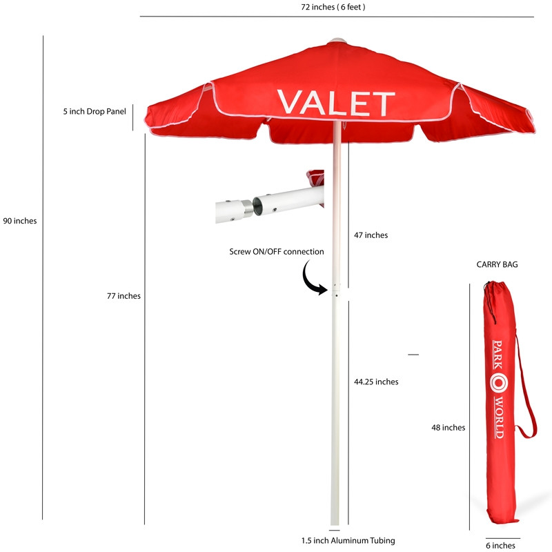 Red Valet Parking Umbrella with Printing Sizes