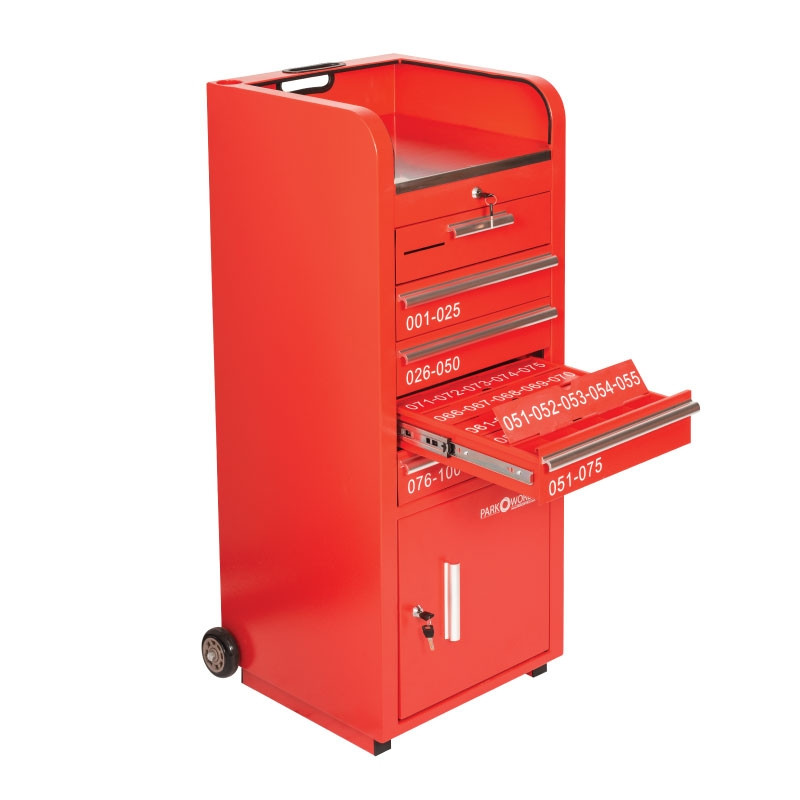 Valet Parking 100 Key Slot Red Flap Open