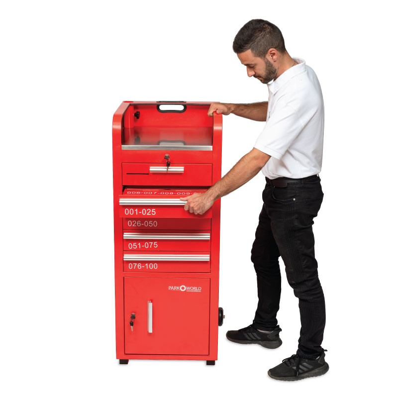 Valet Parking 100 Key Slot Red Model Side
