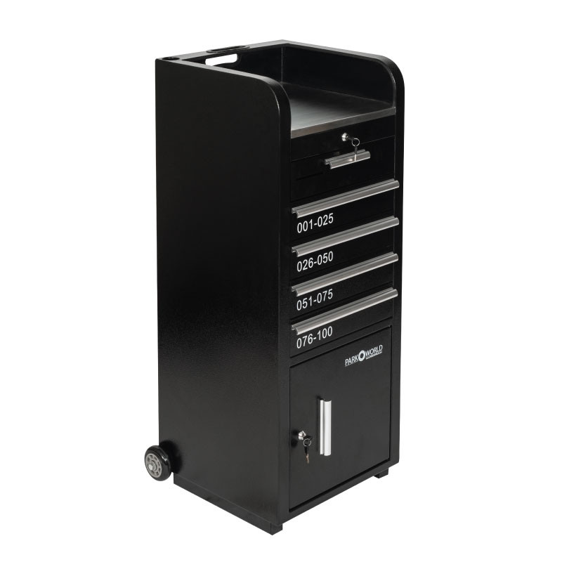 Valet Podium 100 Key Slot Black Drawers Closed
