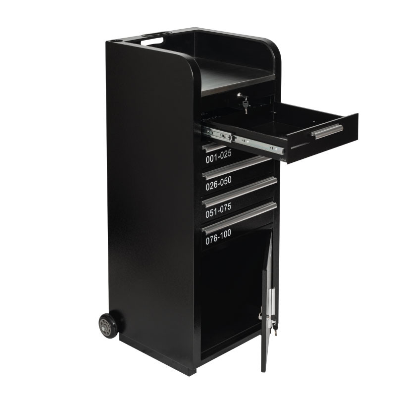 Valet Podium 100 Key Slot Black Cash And Cabinet Open