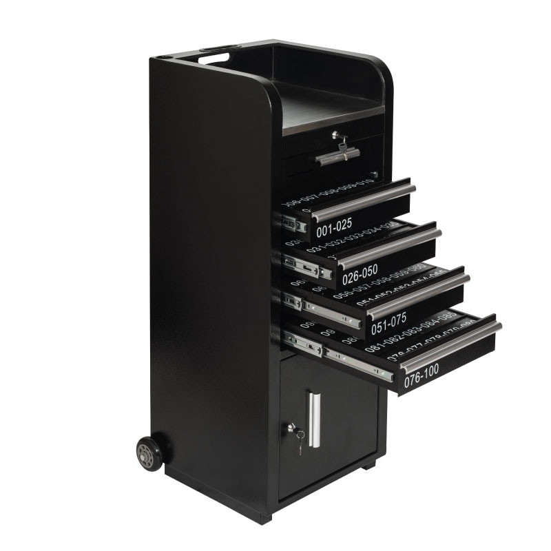Valet Podium 100 Key Slot Black Key Drawers Open
