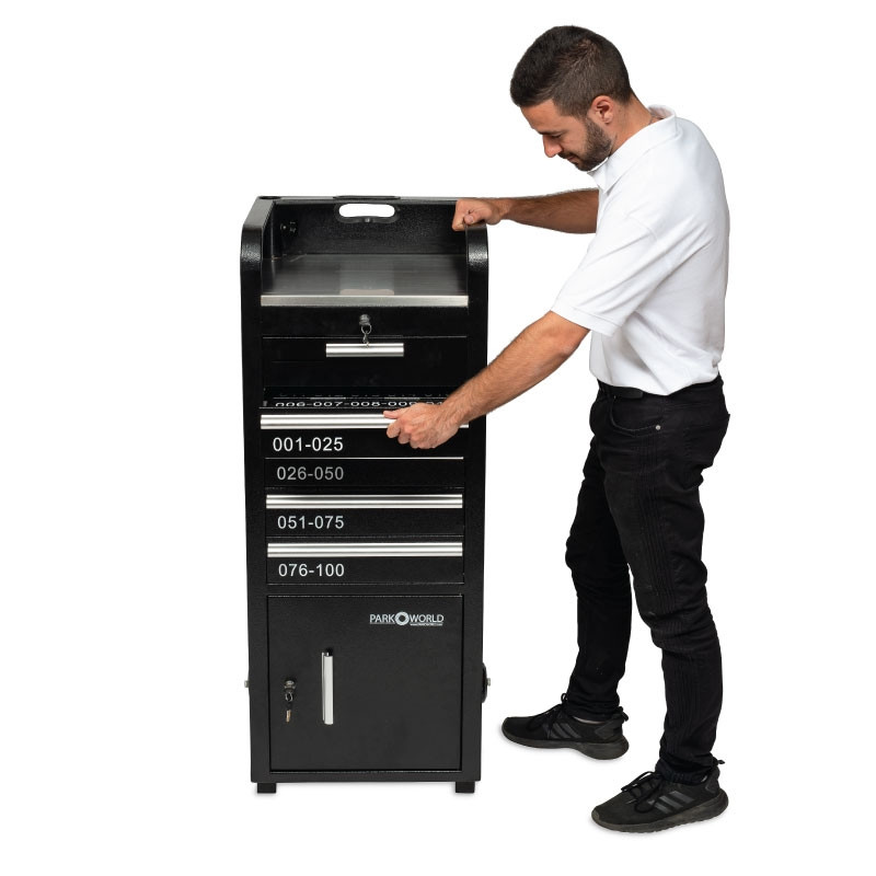 Valet Podium 100 Key Slot Black Model Side