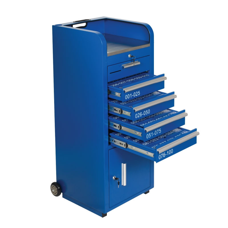 Blue Valet Podium 100 Key Slot Drawers Open