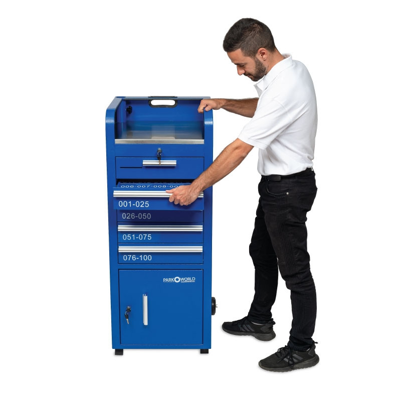 Blue Valet Podium 100 Key Slot Blue Model Side