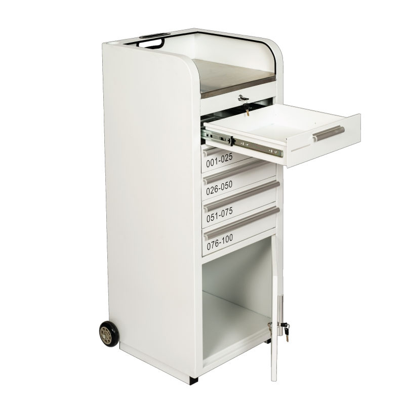 Valet Podium 100 Key Slot White Cash Drawer and Cabinet Open