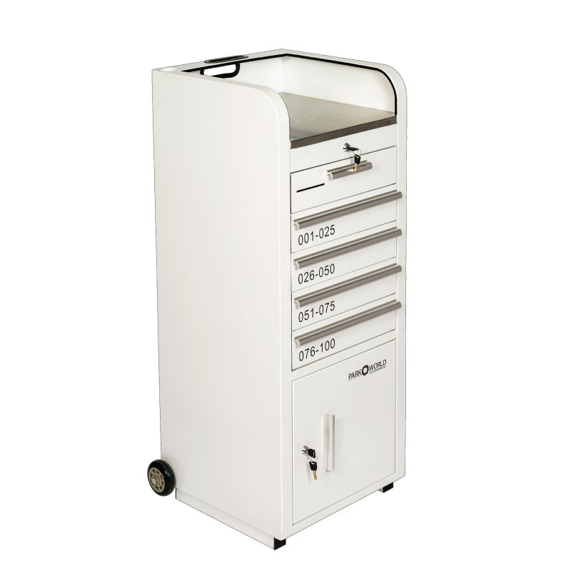 Valet Podium 100 Key Slot White Drawer Closed