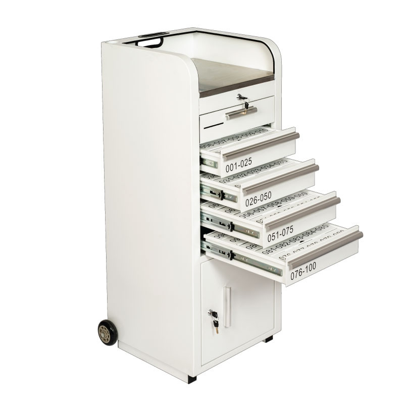 Valet Podium 100 Key Slot White Drawers Open