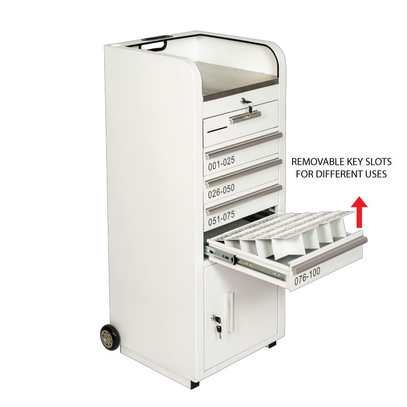 Valet Podium 100 Key Slot White Removable Key Slots