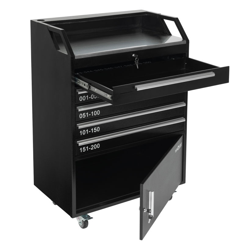 Valet Podium 200 Key Slot Cash Drawer And Cabinet Open