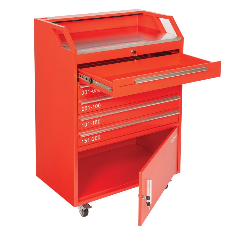 Valet Podium 200 Key Slot Red Cash Drawer And Cabinet Open