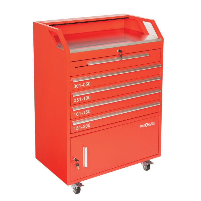 Valet Podium 200 Key Slot Red Front Front Drawer
