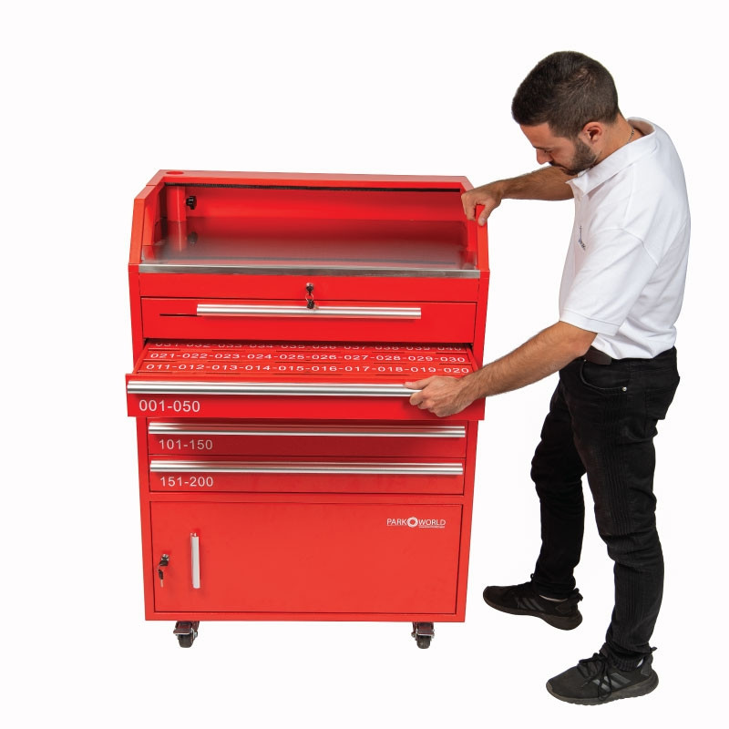 Valet Podium 200 Key Slot Red Model Side