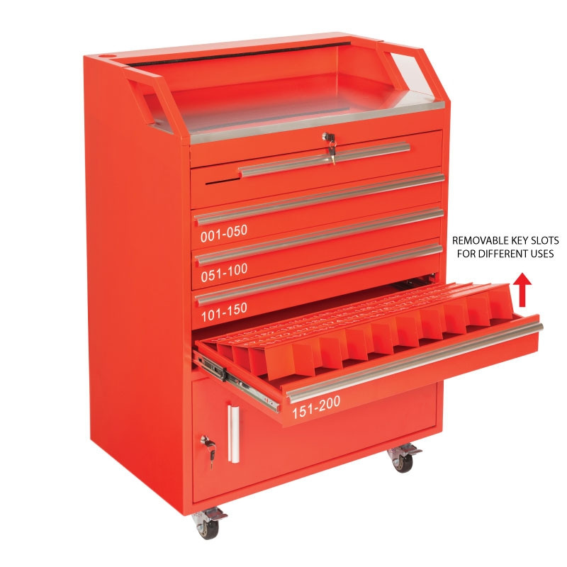 Valet Podium 200 Key Slot Red Removable Slots
