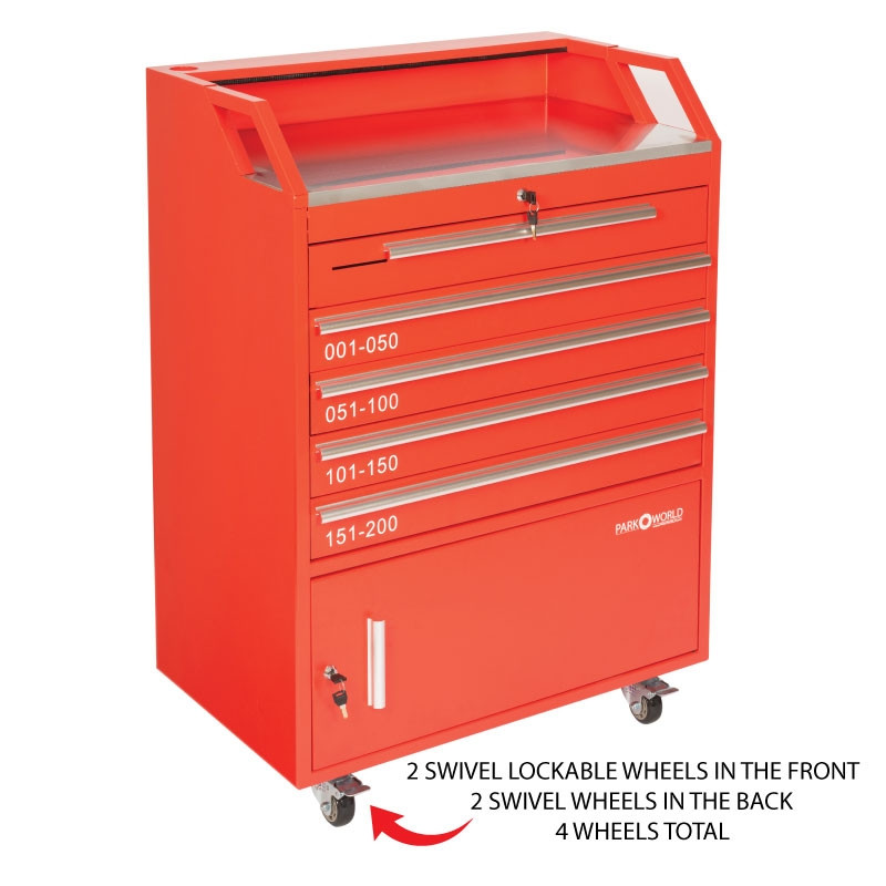 Valet Podium 200 Key Slot Red Wheel Zoom