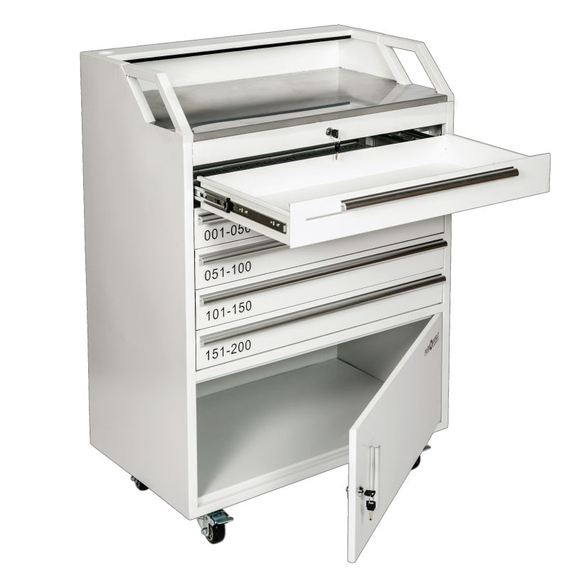 White Valet Podium 200 Key Slot Cash Drawer And Cabinet Open