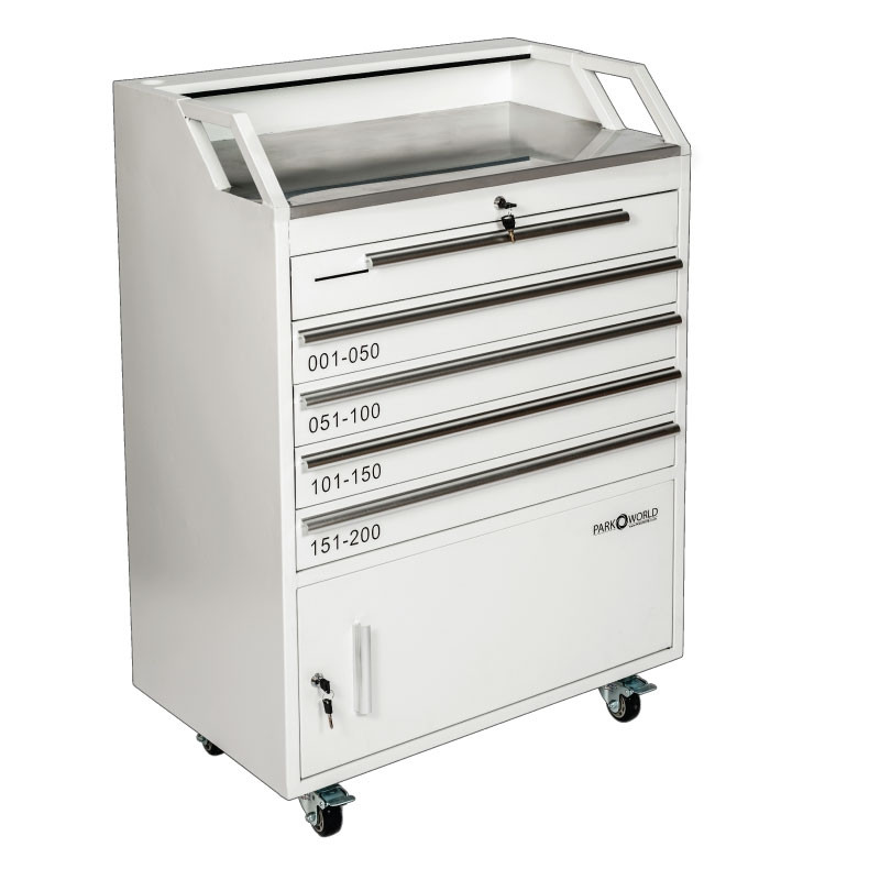 White Valet Podium 200 Key Slot Drawers Closed