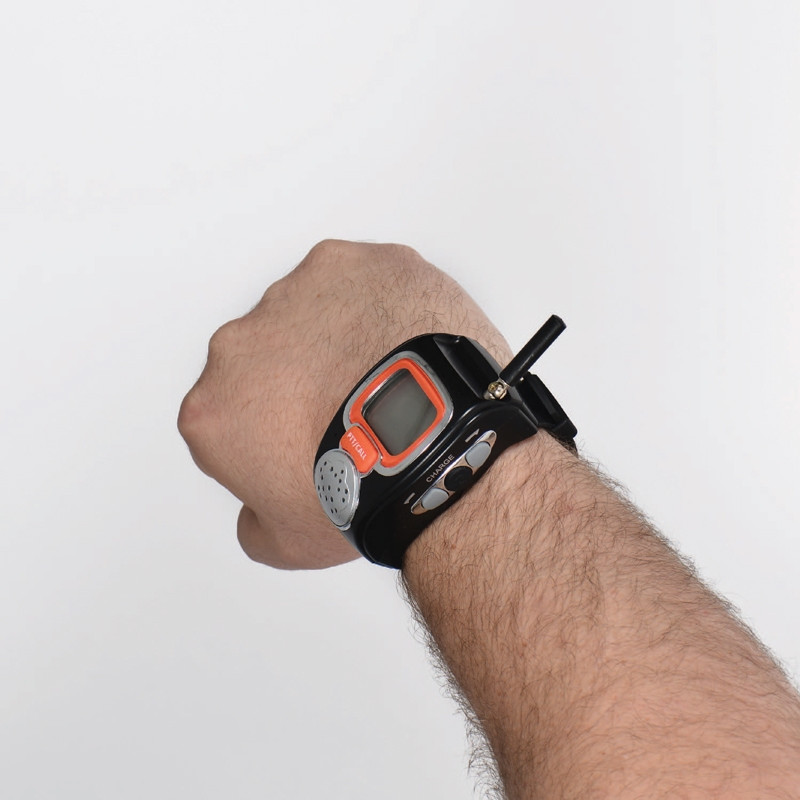 Valet Wrist Watch Walkie Talkie on hand