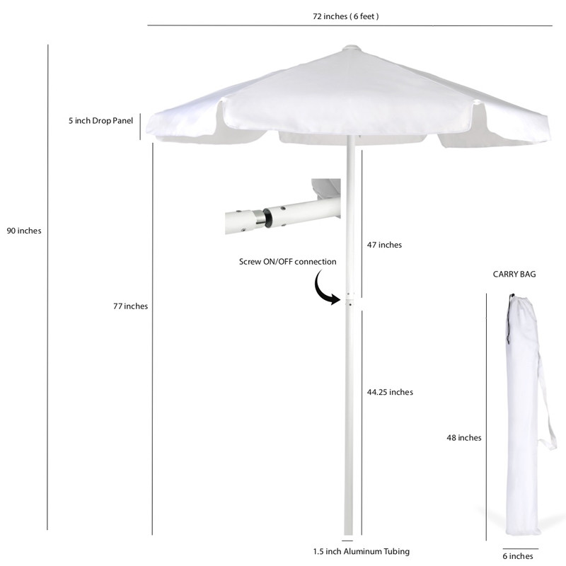 White Valet Parking Umbrella sizes