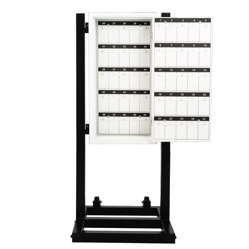 White Valet Parking Key Box 50 Hook Black With Stand Door Open