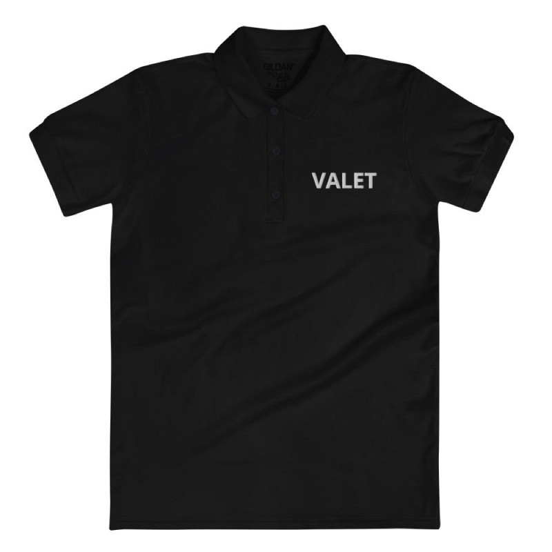Women Black Valet Polo Shirt With Black Wording